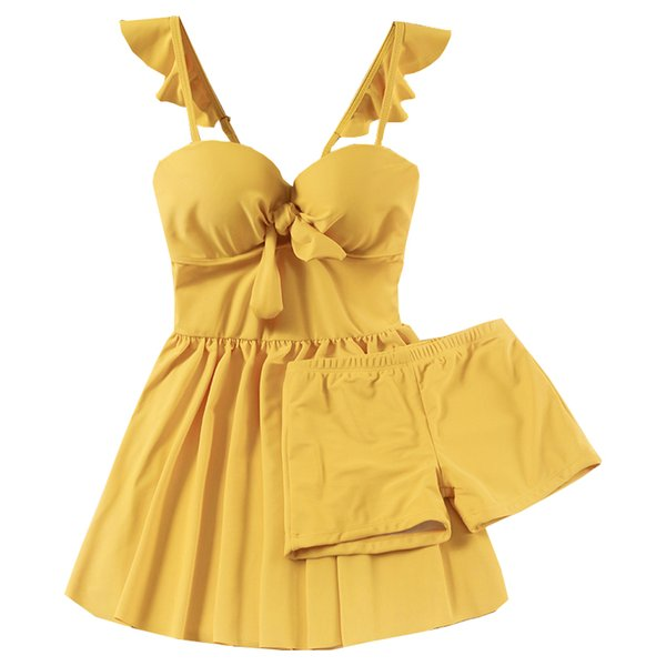 2019 New Women Yellow One Piece Swimwear Skirt Bathing Suit Swimming Dress Summer Sexy Underwire Swimsuit Beachwear