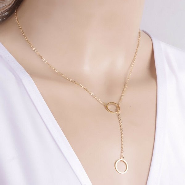 Fashion classic Karma words card Sparkling karma double circle lariat necklace Clavicle Chains lucky jewelry