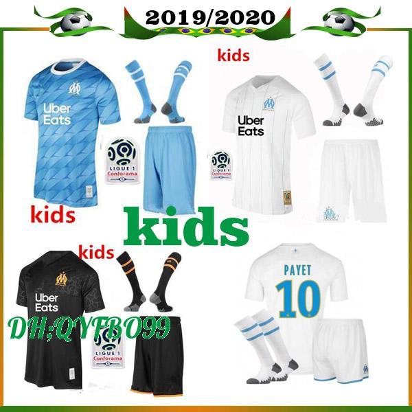 19 20 Olympique de Marseille enfants Kit Maillot de football 2019 2020 OM garçon Marseille Maillot de Foot PAYET L.GUSTAVO THAUVIN chemises de football