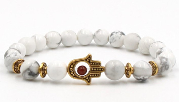 8mm trg42 hand eye Reiki Chakra Bracelet white Howlite Buddha Yoga stone bead essential oils diffuser Bangles Jewelry