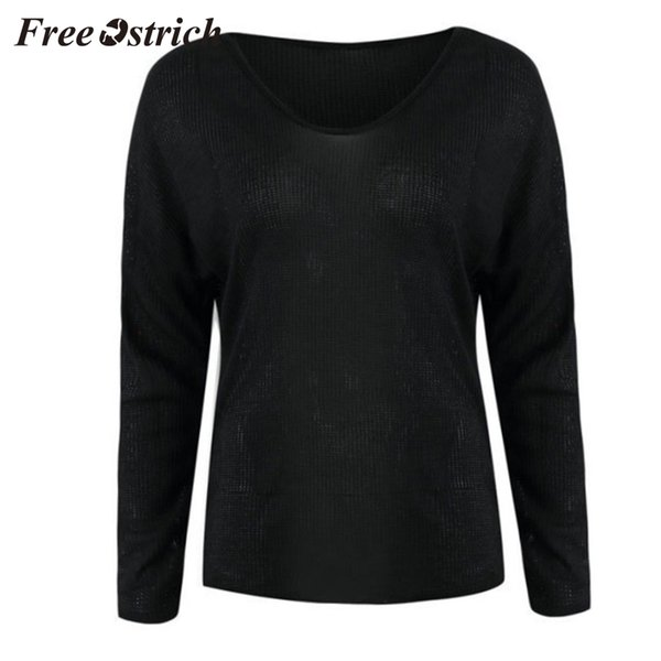 FREE OSTRICH Women's Sexy Turtleneck Solid Color Simple Sweater Knit Long Sleeve V-Neck Sweater Comfortable Warm New Hot