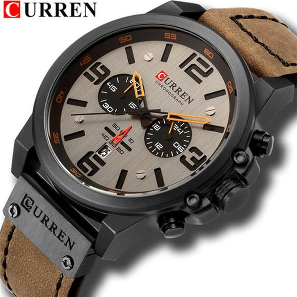 CURREN Mens Watches Top Waterproof Sport Wrist Watch Chronograph Quartz Genuine Leather Relogio Masculino