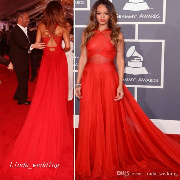 Rihanna Red Carpet Evening Dress High Quality A Line Long Formal Celebrity Dress Prom Party Event Gown