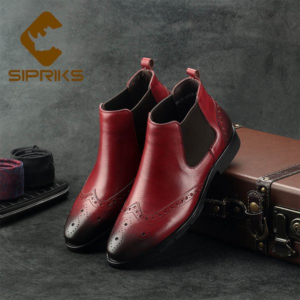 Sipriks Men Wingtip Dress Boots Classic Flat Boots Mens Stretch Leather Cool Men European Indian New