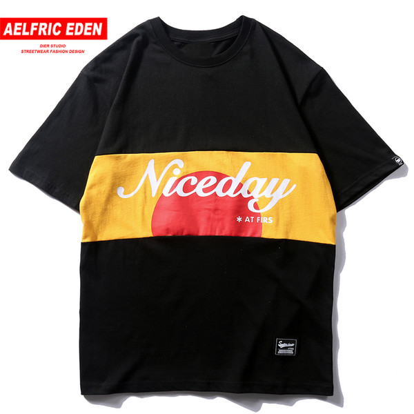 Aelfric Eden Patchwork Hip Hop Shirt Men Summer Color Block Harajuku Casual Fashion Short T-shirts Streetwear Tops Tees C19040402