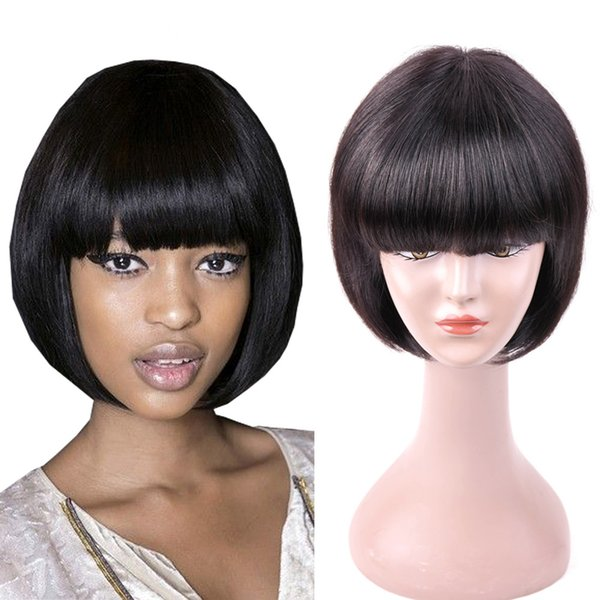 Full/front lace wigs virgin human hair beauty raw remy natural color bangs short bob natural straight for white beautiful women