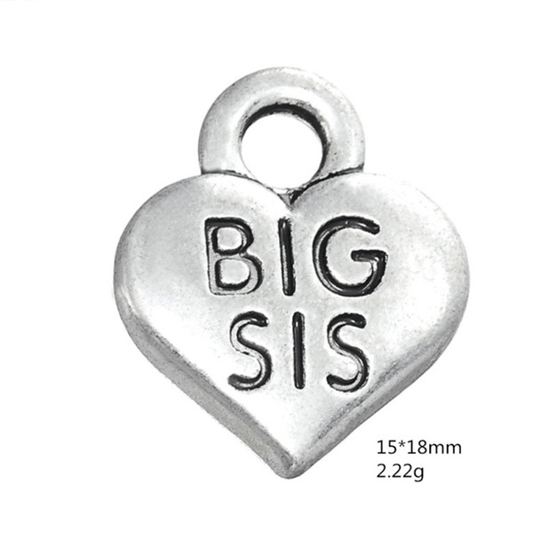 Antique Silver BIG SIS Heart Pendant Family Sister Charms For Handmade Jewelry Bracelets Necklace Making DIY Accessories 50PCS