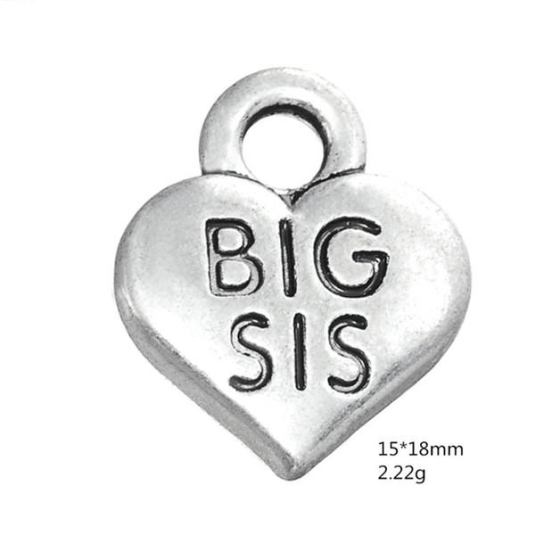 Argento antico grande cuore SIS ciondolo famiglia sorella amuleti per gioielli fatti a mano bracciali collana fare accessori fai da te 50 pezzi