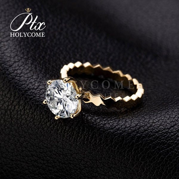 wavy shape band 18k gold High quality fancy tiny D white moissanite diamond ring for engagement wedding ceremony