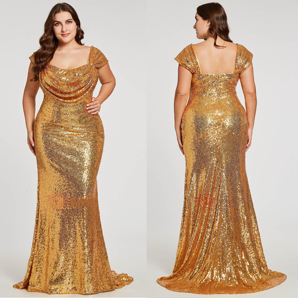 Sparkly Gold Sequined Plus Size Evening Prom Dress Square Neck 2019 ...