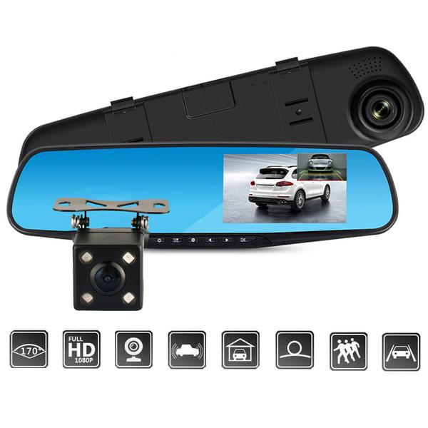 Full HD 1080 P Cámara Dvr Auto Auto 4.3 Pulgadas Espejo Retrovisor Grabador de Video Digital de Visión Nocturna de Lente Doble Registratory Camcorder