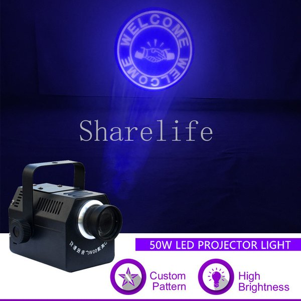 Sharelife Custom Pattern LOGO Gobo Mini 50W LED Proiettore a luce per Show Bar Store Pubblicità Wedding DJ Stage Effect Lighting