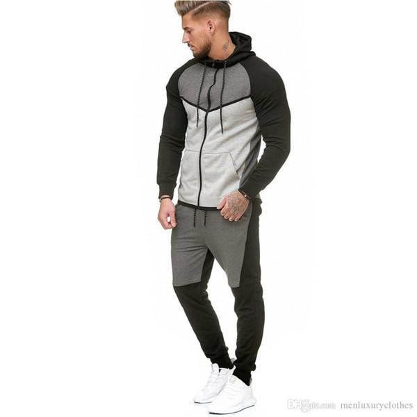 Diseñador de jogging trajes hombres 2018 chándales de lujo sudaderas con capucha sudaderas con capucha pantalones 2 unids conjuntos de ropa deportes suéteres