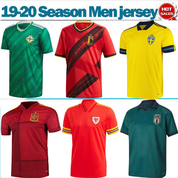 Iceland 2020 World Cup Jersey.2019 European Game National Team 2020 Italy Sweden Belgium Soccer Jerseys 19 20 Men Soccer Shirts Short Sleeves Spain Iceland Football Uniforms From