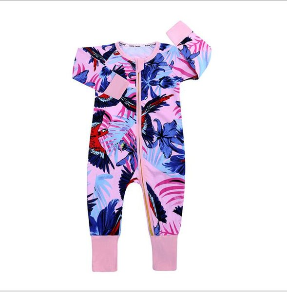 2019 New Autumn Baby Boy Girl Flower Romper Clothes Ins Long Sleeve Floral Cotton Jumpsuit For Newborn Kid One Piece Clothing Pajamas 0-2m