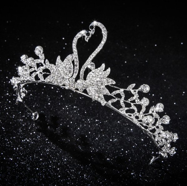 Accesorios de la novia brillantes chicas pedrería cisne corona niños perlas colgante collar + pendientes de cristal 2 unids conjuntos lirio joyería F7784