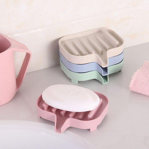 Creative round wheat drain step soap box best selling boutique bathroom soap dish storage rack soap box drain
