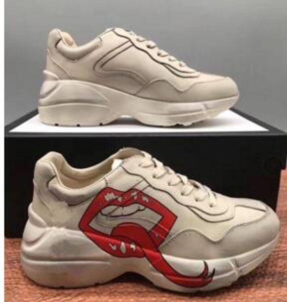 2019 Homens Mulheres Sapatos casuais Rhyton Vintage instrutor Sneakers fluorescente cor de couro Sports Dad Dança sapatos desportivos Oversize Trainers Deq85