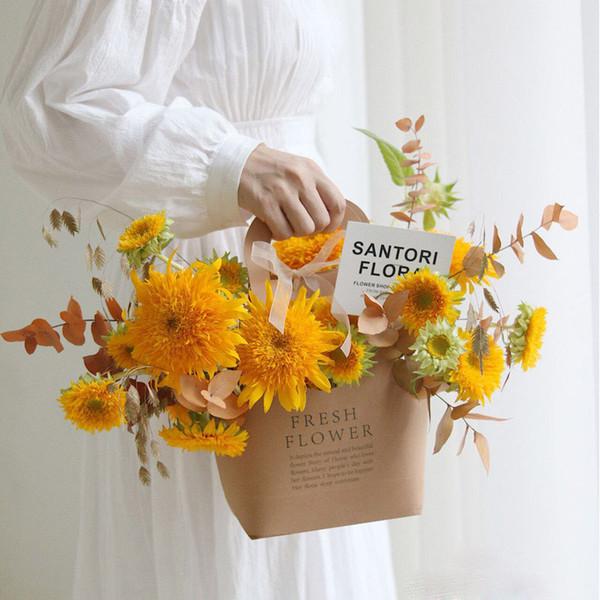 Floreiras Embalagens frescos com alça de flores cesta de dobramento de papel kraft caixas de presente da flor para o casamento do Natal