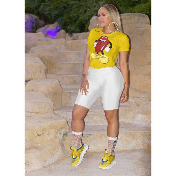 Rato Grandes Designer de Lábio Tshirts Roupas Femininas de Verão Bonito Branco Preto Amarelo Tees Manga Curta Tops