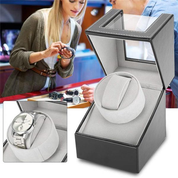 Único Relógio Automático Winder Display Box Titular Caixa de Enrolamento Relógio Mecânico Automático Caixa de Jóias Organizador De Armazenamento Caixa Preto Marrom