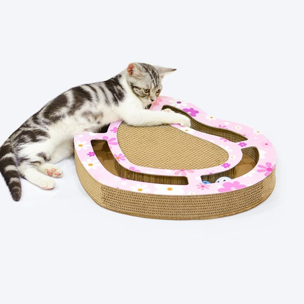 Cat Scratching Board Toy Corrugated Paper Three Holes Three Slots Heart Disc Grabbing Ball Grinding Plate Cat Supplies