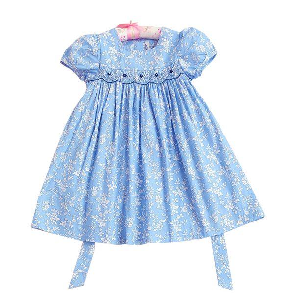 Yaz Bebek Bebek Kız Prenses Smocked Yumuşak Elbise Toddler Kız Smocking Pamuk Yay Çiçek Bebek Elbiseleri Çocuklar Için 1-5years Eski