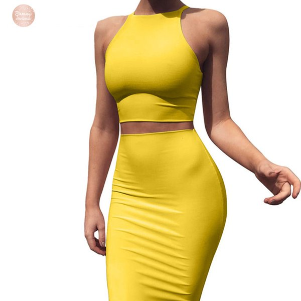 Crop Top And Skirt Two Pieces Dress Set Yellow Club Summer Matching Sexy Clothes For Women Sets D53 Az17