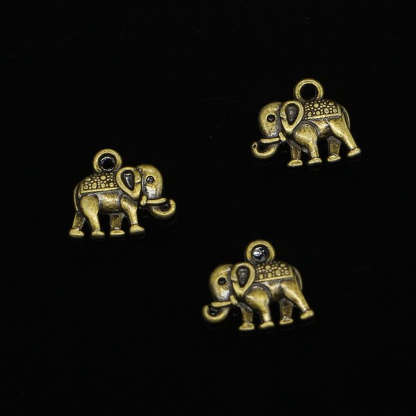 160pcs Charms double sided elephant Antique Bronze Plated Pendants Fit Jewelry Making Findings Accessories 13*12mm