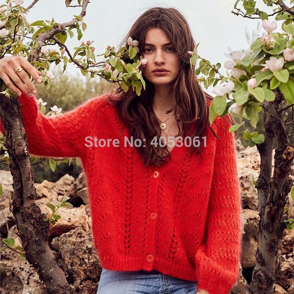 Spring 2019 Mohair Blend V-neck Knitted Sweater Top - Ladies Stylish Red Fashion Hollow Out Button Front Knit Cardigan Top