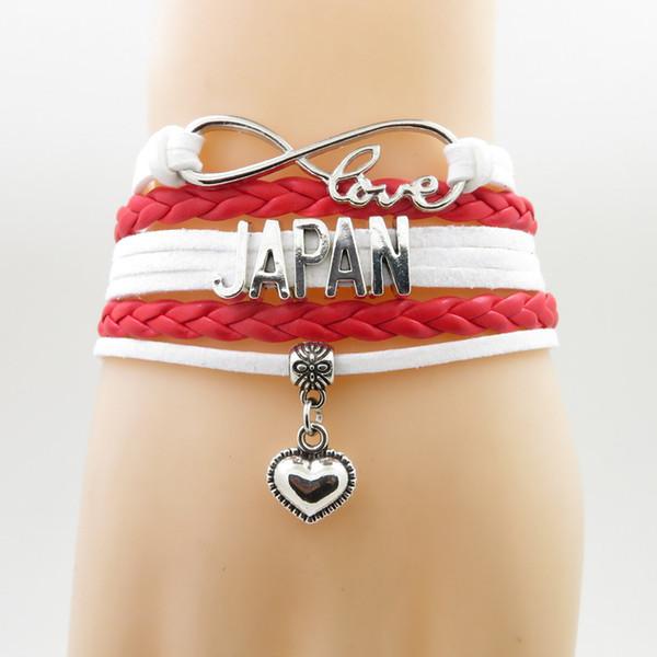 Liebe Japan Lederarmband Herz Bettelarmband Liebe Japan Land Armreifen für Frau und Mann Schmuck