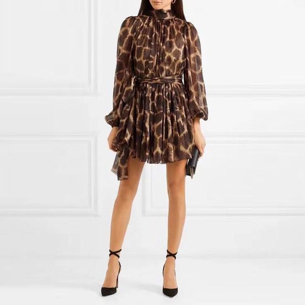 [MENKAY] 2019 Primavera Vintage Estampado de leopardo Elegante Vestido de vendaje Para mujer Ropa de moda coreana de manga larga pura