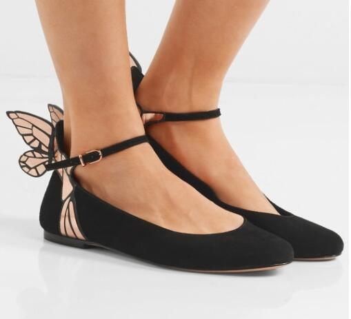Hot Sale-Sophia Webster butterfly wings flats round toe flats black suede leather mules ballet angel wings shoes dress flats shoes women