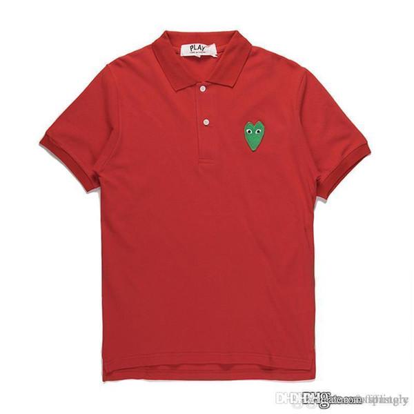 2018 COM Großhandel beste Qualität rot grün Herz DES GARCONS spielen schwarz Polo T-Shirt Made in Japan Junya Homme Plus