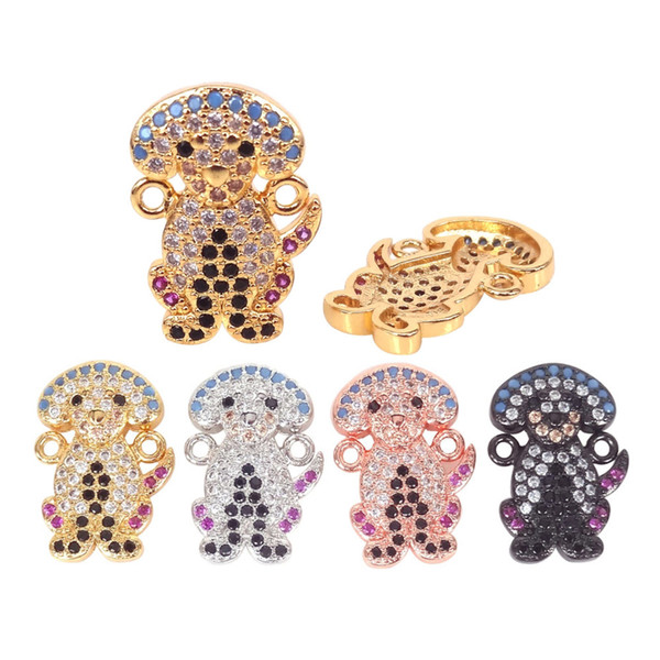 2Pcs Micro Pave Colorful CZ Dog Beads Charm 24K Gold color plated pet dogs Charms Pendants Connector Animal Jewelry Accessories