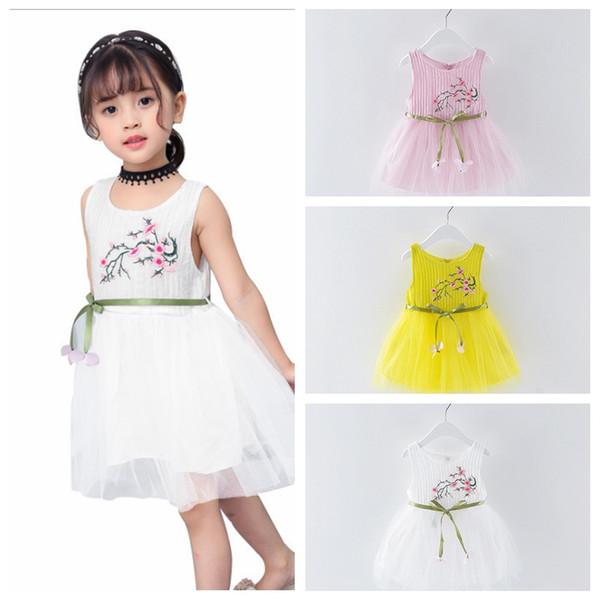 Gonna ragazza estate gonna fiore stampato principessa tutu abito fiocco-nodo bianco giallo rosa bambina abiti