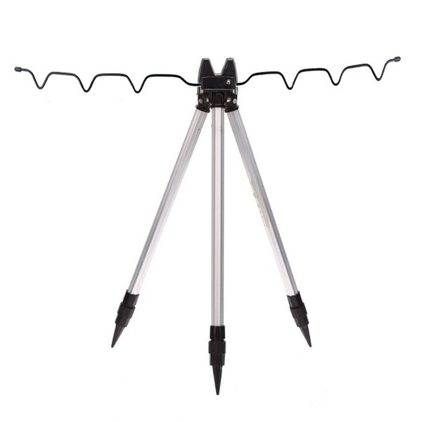 Aluminum Alloy Telescopic Fishing Tripod Holder Stand for Fishing Rod Silver