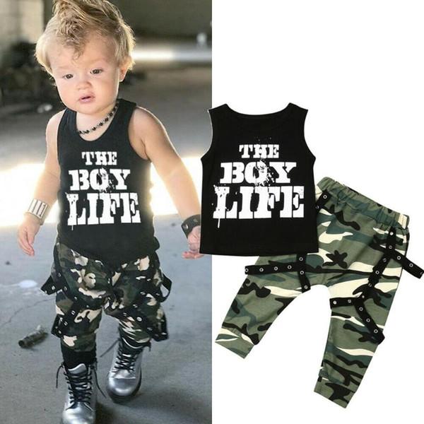 0-3y fashion baby boy clothes sets vest camo pant trouser toddler casual outfit set clothes thumbnail