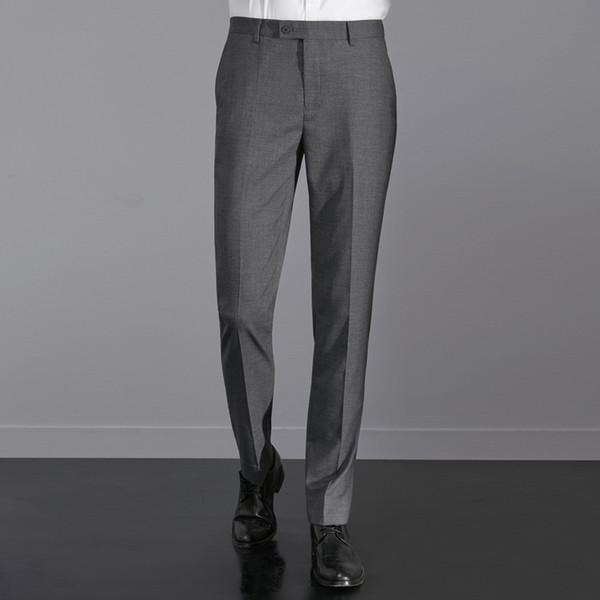 Novo Desenhador de Moda Masculina Formal Reunião de Negócios Terno Desgaste Zipper Fly Calças Slim Fit Rugas-Resistente Terno Calças para Homens
