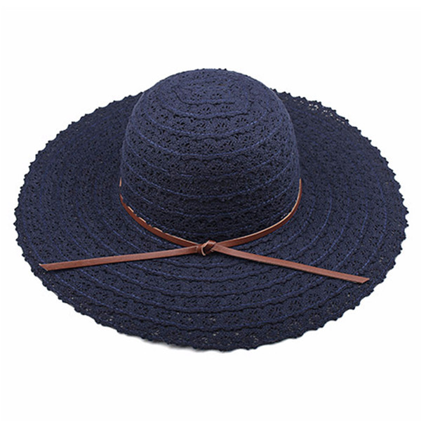 Summer Woman Vacation Lace Fabala Casual Wide Brimmed Sun Protection Foldable Travel Straw Hat Sun Hat