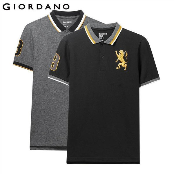 Giordano Shirt 2-pack Embroidered Pattern Fashion Polo Men Stretchy Short Sleeve Polos Para Hombre Brand Summer Tops C19041501