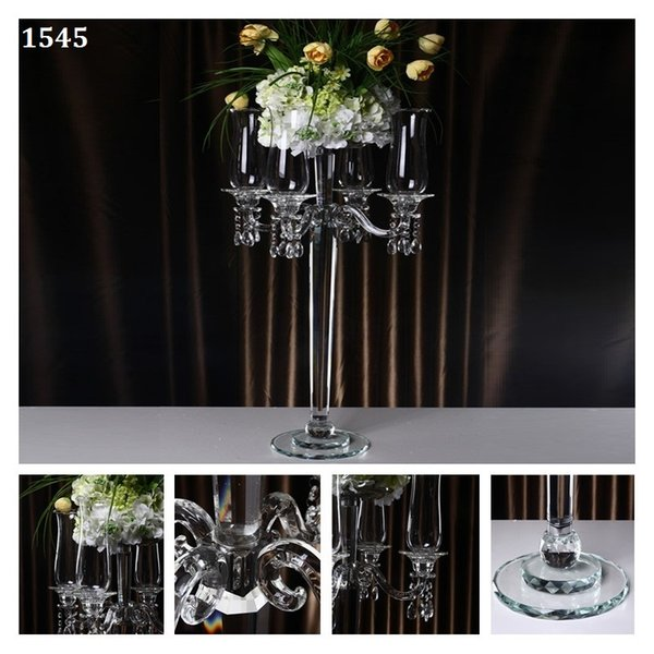 Demountable 5 Head Windproof Candle Holders Crystal Wedding Christmas Decorations Home Centerpieces Candlestick with Bowl Hand work