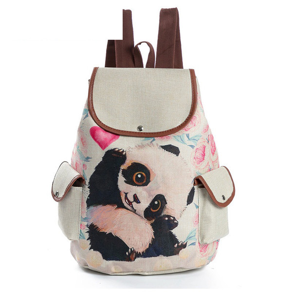 good quality Cartoon Animal Design School Backpack For Teenage Girls Linen Material Cute Panda Printed Drawstring Backpack Female