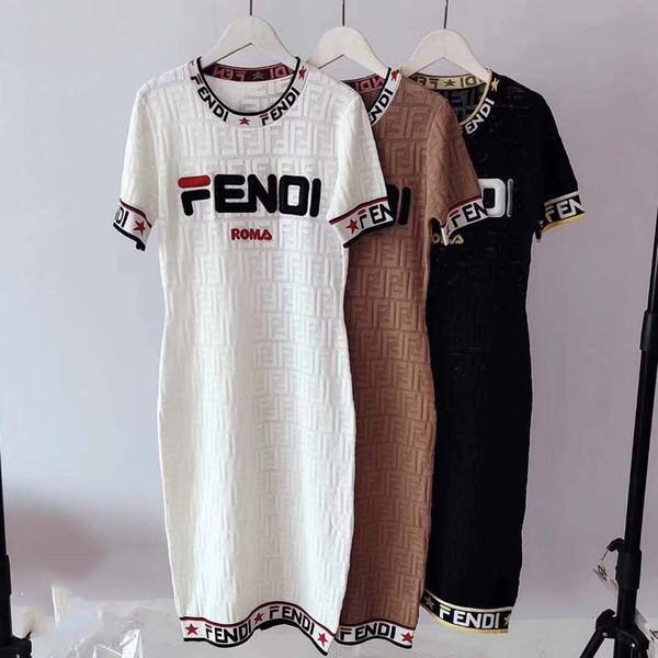 Womens Designer Vestido de Luxo Carta FF Impressão Roupas Moda Roupas Femininas Casuais Ladys Vestidos para 2019 Verão Novo
