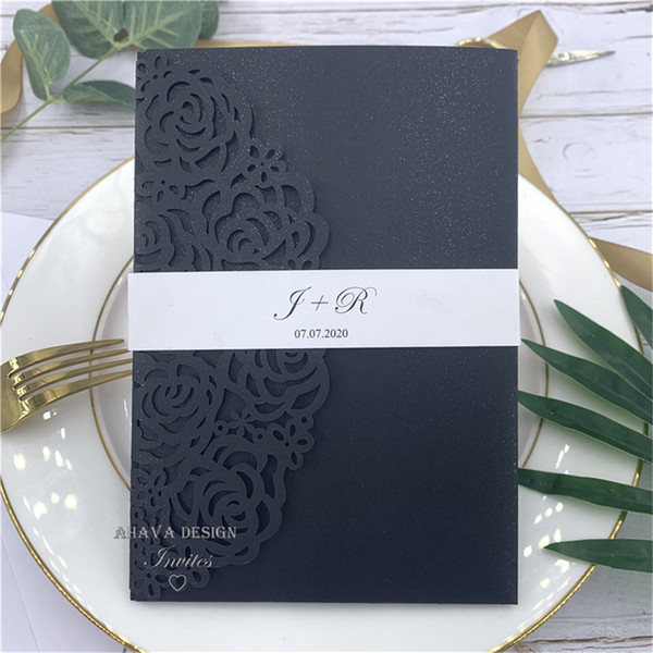 Gorgeous Black Laser Wedding Invitation Card With Customized Belly Band Insert And Rsvp Card Free Design Wedding Invitation Quotes Wedding