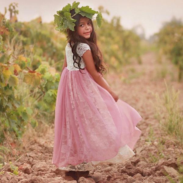 Pays Blanc Dentelle Rose Tulle Fleur Filles Robes Pour Le Mariage Avec Manches Courtes Empire Longueur De Plancher Boho Pas Cher Première Robe De Communion