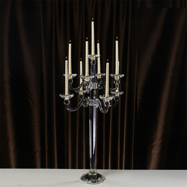Wholesale price 107cm Tall 9 arms Wedding Candle Holder Stand Decoration Crystal Candelabra Centerpiece for home