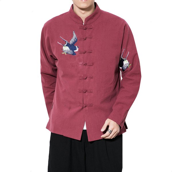 Autumn New Chinese style Retro Plus Size 5XL Tang suit jackets men embroidered Hanfu male Traditional Kung Fu Jacket Coat