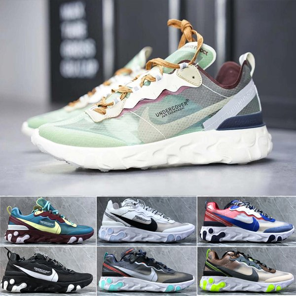 UNDERCOVER x Upcoming Air Reagir Elemento 87 cartões Branco Sneakers Marca Homens Mulheres instrutor Homens Mulheres Running Shoes Zapatos GH6V
