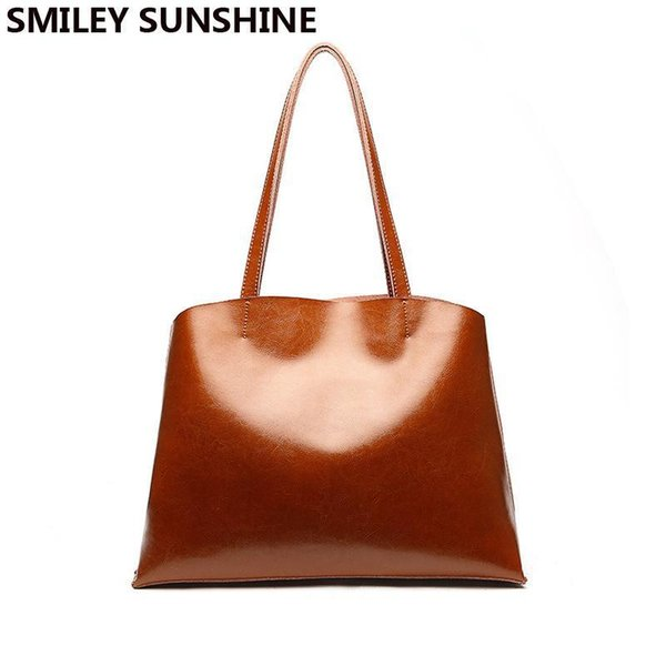 SMILEY SUNSHINE Genuine Leather Female Shoulder Bags Nice Big Vintage Women Leather Handbags For Party Retro Tote Bags Sac